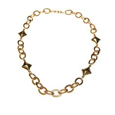 Gold Chain and Diamond Link Necklace