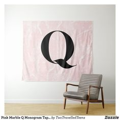 Pink Marble Q Monogram Tapestry Marble Tapestry, Pink Marble, Christmas Card Holders, Bed Spreads, Vivid Colors, Picnic Blanket, Monogram, Prints, Home Decor