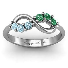 Mother's ring, infinity sign with birthstones .. I want this with my and Ryan's birthstone
