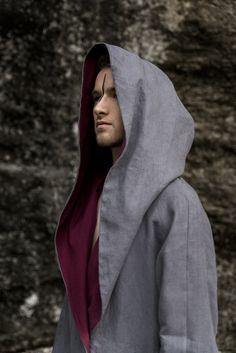 handmade unique linen unisex coat with big hoodie
