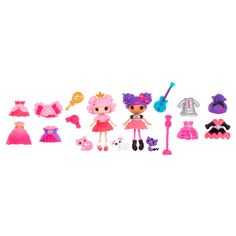 Mini Lalaloopsy dolls come with an adorable pet, mix and match fashions, and fun accessories that fit their personalities. Totally collectible! In Lalaloopsy Land, everyone is stitched together uniquely. Jewel is the princess and expert of all things fashionable and glittery. With her pet Cat, she follows her big, big dreams. Storm E. is a bit of a rebel, sometimes a little misunderstood, but loves to practice guitar and rock out with friends. She has a pet cat called Cool Cat.