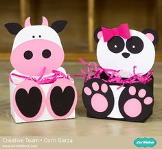Cow & Panda Belly Boxes by Corri Garza using cutting files by Lori Whitlock. Valentine Boxes For School, Valentines For Kids, Valentine Day Crafts, Printable Valentine, Valentine Wreath, Valentine Ideas, Valentine Heart, Valentines Card Holder, Diy Valentine's Box
