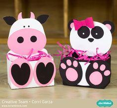 Cow & Panda Belly Boxes by Corri Garza using cutting files by Lori Whitlock.