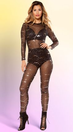 This sexy jumpsuit features a high neck, long sleeves, a sheer bodice, an open back panel, a skinny leg, and an allover silver sequin design. (Bra and panty not included.) Sheer Sequin Jumpsuit, Black Mesh Jumpsuit, Sequin Jumpsui