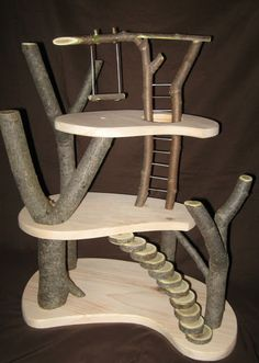 This husband and wife make these neat toys out of fallen trees and reclaimed wood. They only sell them locally right now (although they may take internet orders). This little tree house pictured is one of my favorites. It seems like something I could make myself as well. Great inspiration here!