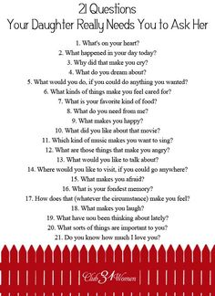 FREE Printable: 21 Questions Your Daughter Really Needs You to Ask Her - So how do you develop a close relationship with your daughter? How do you get to know her heart? FREE Printable: 21 Questions Your Daughter Needs You to Ask Her 21 Questions, This Or That Questions, Dating Questions, Relationship Questions, Journal Questions, My Little Girl, Up Girl, My Baby Girl, Parenting Advice