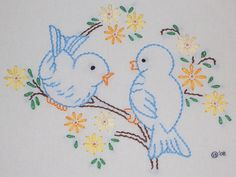 Blue birds for Andrea - stem stitch, lazy daisy, back stitch, tiny bit of satin stitch, french knots Baby Embroidery, Hand Embroidery Stitches, Hand Embroidery Designs, Vintage Embroidery, Cross Stitch Embroidery, Machine Embroidery, Embroidery Transfers, Crazy Quilting, Cross Stitching