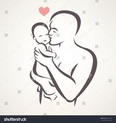 father and baby isolated vector symbol - buy this vector on Shutterstock & find other images. Father Daughter Tattoos, Father Tattoos, Dad Tattoos, Tattoos For Daughters, Baby Silhouette, Silhouette Tattoos, Pencil Art Drawings, Art Drawings Sketches, Kind Photo