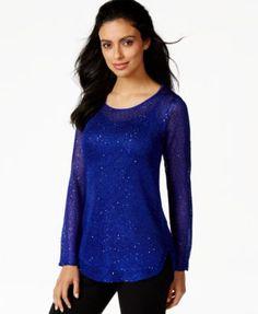 Alfani Petite Shirt-Tail-Hem Sequinned Sweater, Only at Macy's | macys.com
