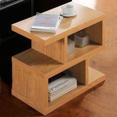 contemporary modern side table / furniture / oak wood finish
