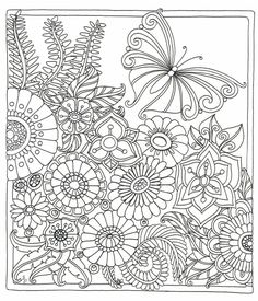 A serene meadow scene from Colour Me Happy, A Zen Colouring Book from Lacy Mucklow