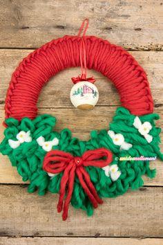 ghirlanda natale fai da te, ghirlanda natalizia facile, ghirlanda natalizia in lana,
