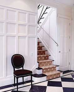 Panelled walls (and floor and star carpeted stairs) Stair Paneling, White Wall Paneling, White Walls, Panelling, Black And White Interior, Black And White Tiles, Black White, Checkered Floors, Doors And Floors