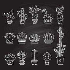 Summer Line Art Stockfotos und -bilder - Kaktus Cactus Drawing, Cactus Art, Cactus Decor, Cactus Plants, Garden Cactus, Cactus Doodle, Cactus Flower, Kaktus Tattoo, Art Deco Tattoo