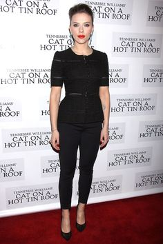 Love this Scarlett Johansson outfit, at Cat On A Hot Tin Roof opening night