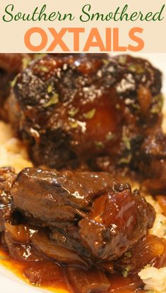 These Southern Smothered Oxtails are easy to make and a great dish for a cold night. The meat browned on the bone allows for the stew to become more complex and earthy in flavor. Easy Meat Recipes, Easy Dinner Recipes, Easy Meals, Cooking Recipes, Dinner Ideas, Southern Oxtail Recipe, Southern Recipes, Southern Meals, Southern Style