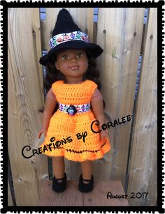 """Little Witch Set for 18"""" doll by Creations by Coralee"""