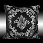 LUXUARY SHINY SILVER DAMASK BLACK CUSHION COVERS THROW PILLOW CASES 16 e-bay