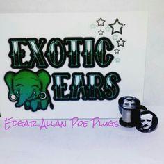 ExoticEars Edgar allan poe plugs #plugs #gauges #stretchedears #gaugedears #prettyplugs #rocker #emo #goth #horror #edgarallanpoe #poeplugs #cuteplugs #plugsforgirls #plugsforguys #iloveplugs #ears #bodymod #piercing #stretchedlobes #exoticears #galaxy #galaxyjewelry #galaxyearrings #galaxyplugs #galaxygauges