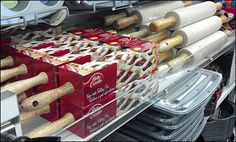 Trust Betty Crocker to come up with a new point-of-purchase recipe for merchandising rolling pins. Betty boxed them providing an… Pin Box, Rolling Pins, Shelf Display, Betty Crocker, Rolls, Retail, Recipes, Food, Buns