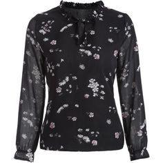 Floral Print Chiffon Blouse (€4,66) ❤ liked on Polyvore featuring tops, blouses, floral chiffon top, shirt top, floral print shirt, flower print blouse and floral shirt