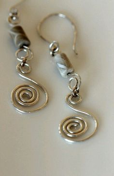 Sterling Silver Spiral Earrings w / Fossil Coral / Jewelry by Girlthree sterling silver coil earringssterling silver coil earrings Wire Wrapped Earrings, Wire Earrings, Etsy Earrings, Earrings Handmade, Coral Earrings, Diy Schmuck, Schmuck Design, Metal Jewelry, Beaded Jewelry