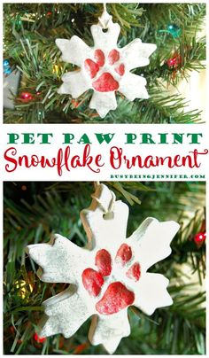 Pet Paw Print Snowflake Ornament tutorial from BusyBeingJennifer.com Its perfect for showing some fur-baby love this Holiday Season! #ad #plaidcrafts