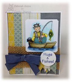 Hambo Stamps rubber image Fisherman and sentiment by Deborah Anton