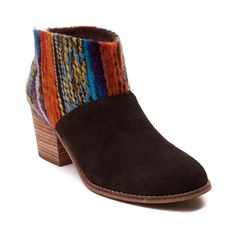 """Get ready for cooler weather style with the new Leila Ankle Boot from TOMS. The Leila Ankle Boot has you stylishly covered featuring luxurious suede uppers with a boho-chic, woven shaft, and chunky, stacked heel.     Features include   Soft suede upper with woven textile shaft   Heel zipper with tassel detail provides easy slip-on and off   Synthetic stacked heel   Heel height approx. 2"""""""