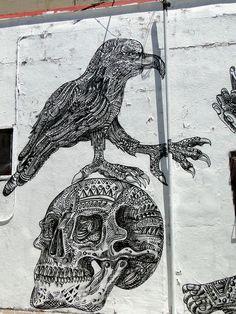 Bird and Skull by Zio Ziegler. Sycamore Alley @ Mission Street in San Francisco, CA.