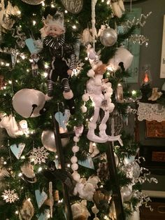 Love the elves in my tree on my homemade ladder
