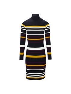 Ribbed dress with striped print. Features a tailored fit, high neck and long sleeves. The garment length for size M is 92 cm.