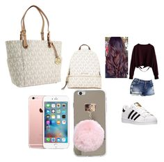 """school 😂😂😬😀"" by pettyallthe on Polyvore featuring adidas and MICHAEL Michael Kors"