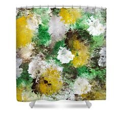 """Forest Abstract Painting Shower Curtain for sale by Christina Rollo.  This shower curtain is made from 100% polyester fabric and includes 12 holes at the top of the curtain for simple hanging.  The total dimensions of the shower curtain are 71"""" wide x 74"""" tall."""