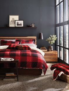 The ultimate cozy holiday bedroom. Warning: This buffalo check bedding might make it a little harder to get out of bed in the morning!