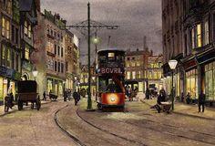 Wheeler Gate, Nottingham, at night, by Harry Haslam. Bus Art, Nottingham City, Good Old Times, Historical Images, Public Transport, Gate, Transportation, Journey, Memories
