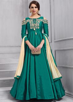 Peacock Green Taffeta Anarkali Suit Price - Occasion Party Wear, Wedding Wear, Festival Wear, Ceremonial Color Green Fabric Silk Discount Work Embroidered Time To Ship: 10 to 12 working days Robe Anarkali, Costumes Anarkali, Anarkali Tops, Silk Anarkali Suits, Salwar Suits Party Wear, Dress Suits, Lehenga, Designer Anarkali, Indian Gowns