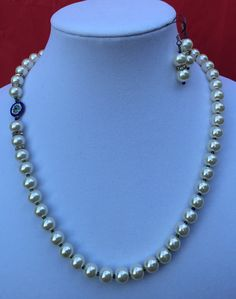 Necklace  Earrings Set/ Glass Pearl by MyCreationsDesigns on Etsy