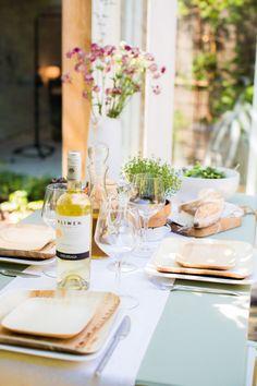 An Italian Al Fresco Dinner Celebration, simple tables ape, wood plates, summer dinner, lovely