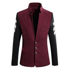 Vintage Inside-Pocket Casual Mixed Colors Slim Fit Cotton Stand Collar Woolen Coat For Men - Gchoic.com