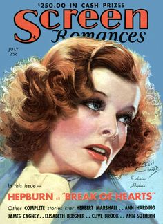 Portrait of actor Katherine Hepburn on the July cover of Screen Romances magazine, published by Dell Publishing Co., United States, 1935, by Earl Christy.