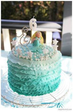 Mermaid Party Cake #GirlsParties #MermaidPartyIdeas