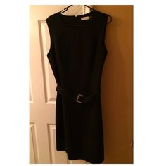 Calvin Klein Dress Sleeveless sheath dress with belted waist/ Size14 (only wore once) Calvin Klein Dresses Midi