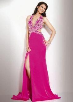 V-neck Beading Sleeveless Floor-length Elastic Woven Satin Fuchsia Evening Dress #evening #dress #v-neck #sexy