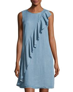 Ruffled Chambray Shift Dress, Blue by Neiman Marcus at Neiman Marcus Last Call.