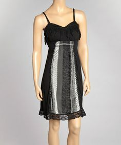 Look what I found on #zulily! Black Lace-Hem Empire-Waist Dress by Farinelli #zulilyfinds