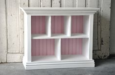 Children's Bookshelf with Cubby shelves in Distressed White and Baby Pink. $150,00 USD, via Etsy.