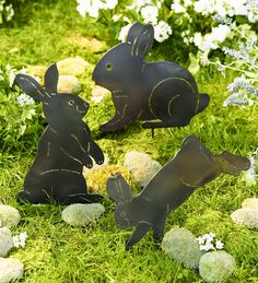 OMG! How cute :) Perfect for Easter, Mother's Day, Gardeners...Our Metal Bunny Silhouettes bring your garden to life. And you can welcome them into your yard without any reservations, as these rabbits won't dig, damage or otherwise destroy your flowers, herbs or veggies.
