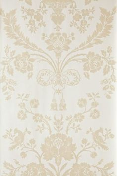 St Antoine (BP 902) - Farrow & Ball Wallpapers - A beautiful french damask creeping floral motif in a pictorial design. Shown here in light beige on cream water based paints - more colours are available. Please request a sample for true colour match