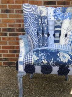 Again...but so amazing!   upholstered patchwork channel back chair The by unchanginggrace, $689.00